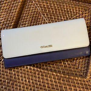 Coach saffiano color block soft wallet gray blue